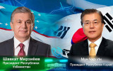 President of the Republic of Uzbekistan speaks with President of the Republic of Korea by the phone