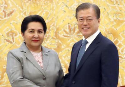 Moon meets Uzbekistan's first female Senate leader